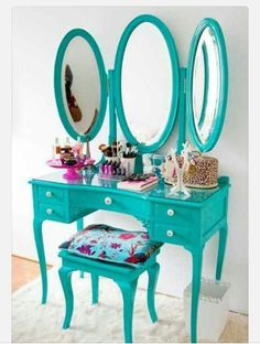 Turquoise vanity.So cute for my room!!!!!!!!