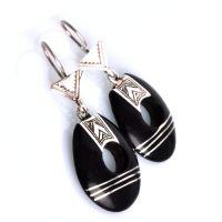 Boucles d'oreilles touareg en ebene et argent ovale
