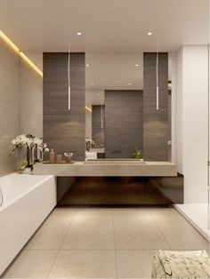 Find the most effective modern bathroom ideas, designs & inspiration to match your style. Browse through images of modern bathroom decor & colours to produce you bathroom design Modern Bathroom Design, Contemporary Bathrooms, Bath Design, Bathroom Interior, Bathroom Designs, Contemporary Vanity, Modern Design, Minimal Bathroom, Contemporary Cottage