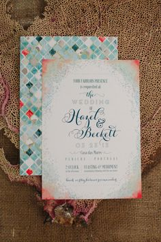 Seaside inspired watercolor wedding invitations | Eclectic Beach Bungalow Seaside Wedding In Gorgeous Coasta Hues | Photograph by Randi Marie Photography  http://www.storyboardwedding.com/beach-bungalow-seaside-wedding-coastal-hues-color-palette/