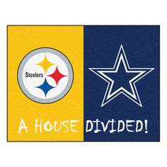 And the rivalry goes on keeping the house divided. Get ready for the biggest game of the year with the Pittsburgh Steelers vs Dallas Cowboys house divided area rug. Both durable and attractive the house divided rug features a nylon face carpet wi. Nfl Steelers, Pittsburgh Steelers, Nfl Football, Cowboys Vs, Dallas Cowboys, Nfl Dallas, Vinyl Rug, House Divided, Nylon Carpet