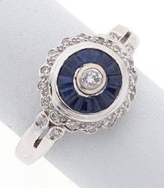 Sapphire, Diamond, White Gold Ring.  Bidding starts at $1, Visit http://jewelry.ha.com