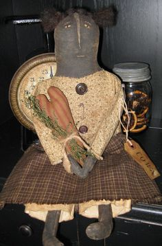 Sweet Primitive Folk Art Black Doll w/ Pillow by HandcraftedPrims, $22.00