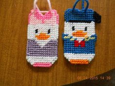 HANDMADE PLASTIC CANVAS DONALD AND DAISY DUCK CHRISTMAS ORNAMENTS SET OF TWO