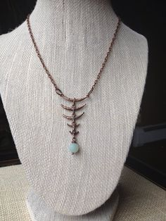 Antique Copper Fish Bone Style Necklace With by McHughCreations, $14.95
