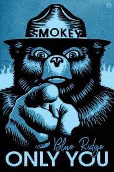 Glacier National Park, Montana - Smokey Bear - Only You - Halftone Blue (Art Prints, Wood & Metal Si Blue Lantern, Smokey The Bears, Poster Prints, Art Prints, Canvas Prints, Stock Art, Antique Maps, Back To Nature, Blue Art