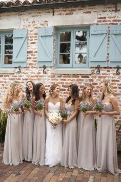Love the nude bridesmaid dresses