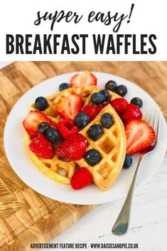 AD-Our tasty easy breakfast waffles and quick and simple to prepare, load them up with juicy berries as a delicious way to squeeze in your 5-a-day!  | easy breakfast recipes | kids breakfast recipes