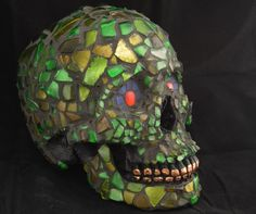 Fun with Wine Bottles: Life size Mosaic Human Skull made with green recycled glass by Jiveworks on Etsy
