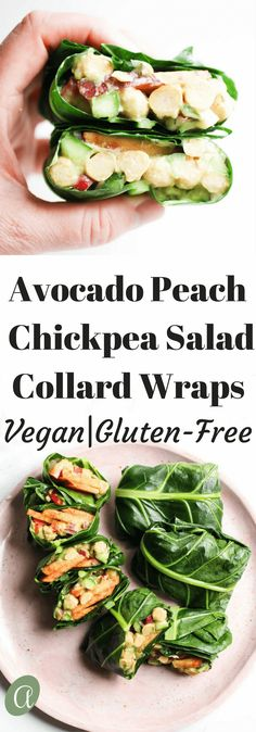Avocado peach chickpea salad collard green wraps, a quick and healthy lunch that is dairy free, vegan, and gluten free. Woohoo!
