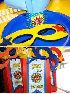 Superhero Birthday Party favors - Love the masks!