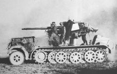 The German 88mm anti-aircraft gun mounted on a prime mover. It was the most effective all purpose artillery of the war. It was an excellent anti-aircraft gun but unlike others of its kind in Allied armies, it also could fire at 0 angle, allowing it to engage ground targets. It was ideal for dealing with tanks and other vehicles and caused much trouble for the allies, destroying 1000s of vehicles. It's range far exceeded any opposing gun. The gun was also mounted on tanks. It was unstoppable.