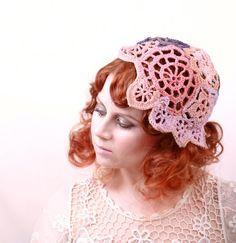 Summer hat crochet hat crochet beanie Pink hat  Blue by mynoush, $93.00