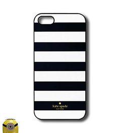 Kate Spade Black Stripe Case for iPhone 5 5s SE 5c 6 6plus Rubber Cases