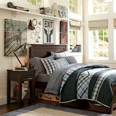 wall color creme with grey blue brown bedding, or wall color grey?  decisions decisions