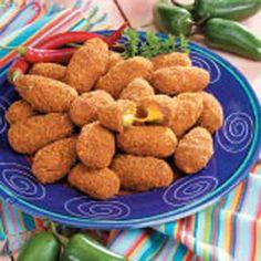 Armadillo Eggs.  Use Monterrey Jack Pork Shake and Bake.  Delish!!!!!