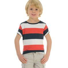 Camiseta A Rayas Rojo Y Azul Marino