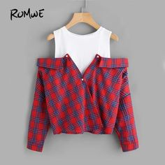 Cheap plaid top, Buy Quality open shoulder directly from China long sleeve blouse Suppliers: ROMWE Open Shoulder Check 2 In 1 Shirt Tunic Vogue Blouse Women Red Button Plaid Top Fall 2017 Long Sleeve Lapel Blouse Style Outfits, Teen Fashion Outfits, Cute Casual Outfits, Girl Fashion, Fashion Dresses, Casual Shirts, Ootd Fashion, Fashion Styles, Fashion Trends
