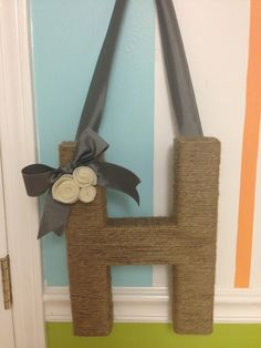 initial wreaths for front door | Monogrammed Twine Wrapped Letter Door Wreath by melanie