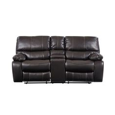 Global Furniture Espresso/Black Loveseat (Faux Leather)
