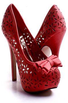 Coral Faux Leather Floral Cut out Bow Tie Platform Heels #GraffitiLensFavorite
