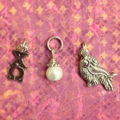 Sorority Greek Chi Omega Trio Charm set - owl mascot charm, lavaliere, & pearl dangle - pinned by pin4etsy.com