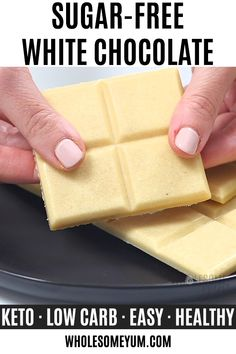 How To Make Sugar-Free White Chocolate (Low Carb Keto) - Learn how to make sugar-free white chocolate bars - homemade with just 4 easy steps! You'll love this UPDATED low carb keto white chocolate recipe. Sugar Free Desserts, Sugar Free Recipes, Low Carb Desserts, Dessert Recipes, Dessert Ideas, Sugar Free White Chocolate, White Chocolate Recipes, Coconut Chocolate, Diabetic Recipes