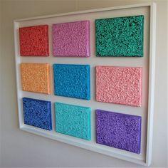 Object nr: 12c - Titel: Multi Color - Afmeting: 74 x 92 x 4 cm  - Multiplex paneel met 9 kleine canvas & acryl schilderijen- Prijs: € 850,-