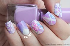 Geometric triangle nail art that'll give a different angle to your manicure.