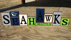 Seattle Seahawks HAWKS Blocks by BountifulCrafts on Etsy