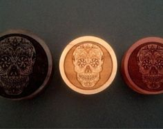 "Custom Handmade Organic ""Skull Candy - Day of the Dead"" Wood Plugs - You choose wood type/color and size 00g - 30mm"
