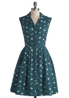 Bake Shop Browsing Dress in Umbrellas printed cotton with button front by Emily and Fin #ModCloth