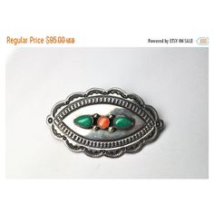 ON SALE Vintage NAVAJO Sterling Silver Three-Stone Brooch, Turquoise,... ($67) ❤ liked on Polyvore featuring jewelry, brooches, navajo jewelry, vintage native american jewelry, vintage american indian jewelry, sterling silver brooch and vintage turquoise jewelry
