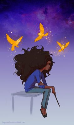 """""""She was sitting on the teacher's desk, alone except for a small ring of twittering yellow birds circling her head, which she had clearly just conjured out of midair. Harry could not help admiring her spellwork at a time like this. """""""