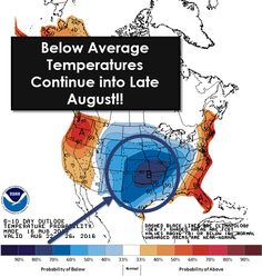 Well slap me silly and look at this! Below-average temperatures look to continue into late August. Who knows, maybe we've just made it through the hottest weather of 2016. Time will tell... #YIPPIE #txwx