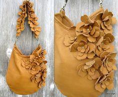 Soft Caramel Leather Flower Bag with Choice of Shoulder Strap
