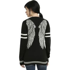 Hot Topic Supernatural Castiel Wings Girls Cardigan (780 CZK) ❤ liked on Polyvore featuring tops, cardigans, supernatural, hot topic, embroidered cardigan, knit cardigan, embroidered top and cardigan top