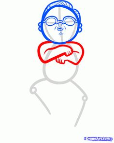 how to draw psy, gangnam style step 5