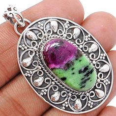 Ruby Zosite 925 Sterling Silver Pendant Jewelry RBZP447 - JJDesignerJewelry