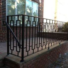 Idea for modernizing gate Porch Wood Railing · Wrought Iron Design, Pictures, Remodel, Decor and Ideas - page 10 Wrought Iron Porch Railings, Outdoor Stair Railing, Front Porch Railings, Wood Railing, Staircase Railings, Steel Railing, Wrought Iron Fences, Railing Ideas, Front Fence