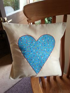Applique Blue Heart Cushion Heart Cushion, Happy Heart, Handmade Items, Handmade Gifts, Cottage Style, Crafts To Make, Heart Shapes, Diaper Bag, Applique