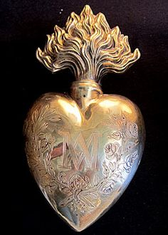 French Antique Silver and Vermeil Ex-voto Sacred Heart