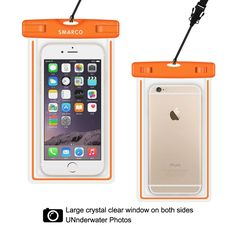 SMARCO Universal Night Fluorescence Waterproof Bag for Iphone 6/6 plus,Samsung Galaxy S6, S5,S4,S3,HTC,Sony,Nokia,keeps your Cell Phone from Water,Sand,Dust and Dirt-IPX8 Certified to 100Feet(Orange)