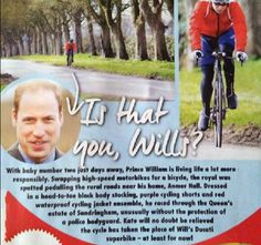 Prince William cycling near Anmer Hall (April 2015).