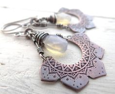 Etched Lotus Earrings // copper flowers with opalite glass beads // mixed metal silver and copper // zen artisan metalsmith (2529)