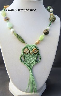 Light green micro macrame owl pendant necklace by Sherri Stokey
