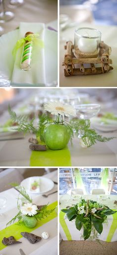 Table decoration of on the nature theme, a white decoration and … - Home Page Green Wedding, Floral Wedding, Wedding White, Decoration Communion, Diy Silvester, Theme Nature, Fruit Centerpieces, Decoration Chic, Wedding Decorations