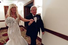 Patti-Anne's dad walks her through the resort to her ceremony site.