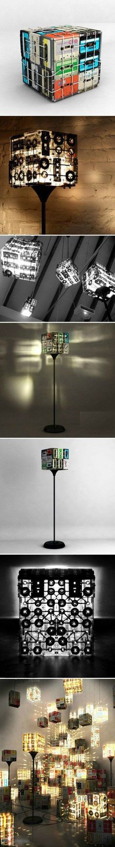 Homemade lamps from music cassettes- Selbstgemacht Lampen aus Musikkassetten Homemade lamps from music cassettes - Diy Luz, Craft Tutorials, Diy Projects, Craft Ideas, Diy Ideas, Decorating Ideas, Retro Lampe, Diy Luminaire, Ideias Diy