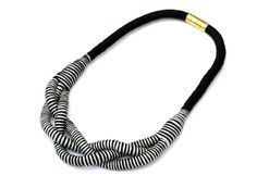 Rope necklace gray black fabric braided rope necklace by MyBeata More